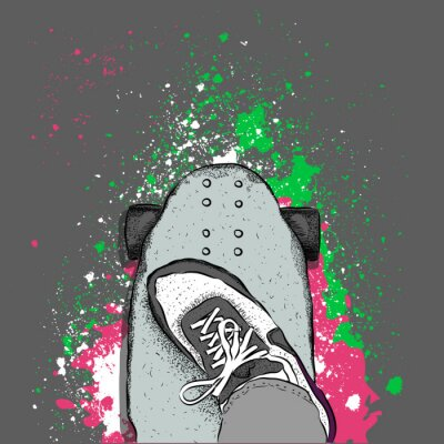 Wall mural Skateboarder on a skateboard. Grunge background with blots. Vector illustration