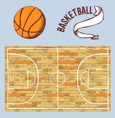 Wall mural Sketch basketball set with court and ball