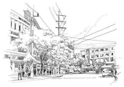 Wall mural sketch drawing of city street.Illustration.