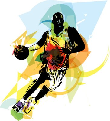 Wall mural Sketch of basketball player