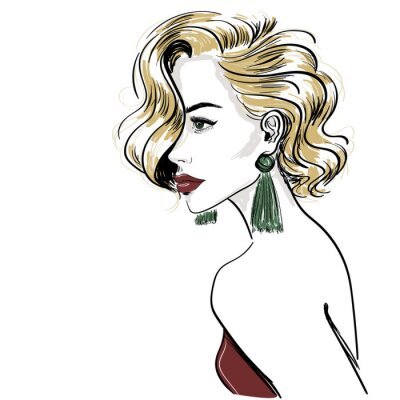 Wall mural sketch of classic blond woman with hair waves