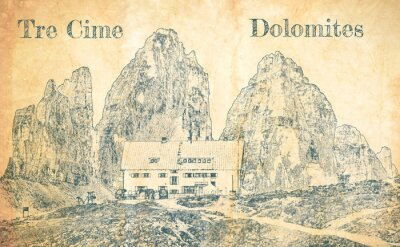Wall mural Sketch of Dreizinnen hut in Tre Cime, Dolomites