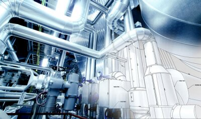 Wall mural Sketch of piping design mixed with industrial equipment photo