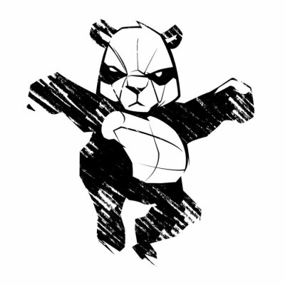 Wall mural Sketch panda martial arts