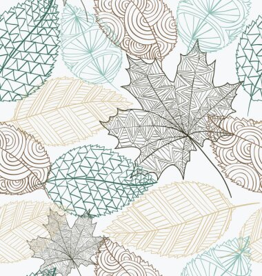 Wall mural Sketch style leaves seamless pattern background. EPS10 file.