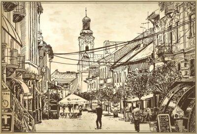 Wall mural sketch vector illustration of Uzhgorod cityscape