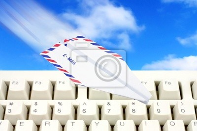 sky and paper airplane email concept