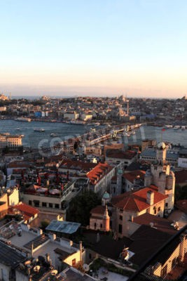 Wall mural Skyline of Golden Horn at sunset in Istanbul, Turkey