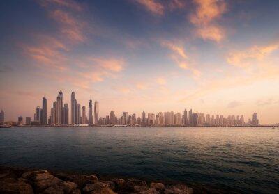 skyscrapers in Dubai Marina, sunset time, UAE