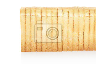 Wall mural Sliced bread on white, clipping path included