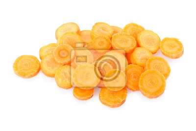 Wall mural Sliced carrots on white,  clipping path included