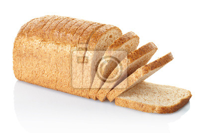 Wall mural Sliced loaf of bread isolated on white, clipping path included