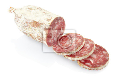 Wall mural Sliced salami isolated, clipping path included