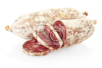 Wall mural Sliced salami on white, clipping path included