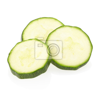 Wall mural Sliced zucchini on white, clipping path included