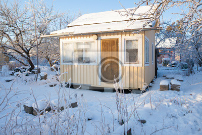 Small cabin at winter