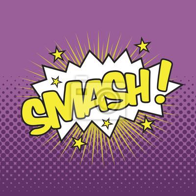 smash wording sound effect for comic speech bubble wall mural