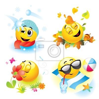 Smiley balls in different season