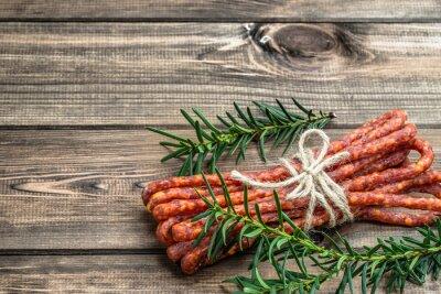 Wall mural Smoked kabanos sausage - traditional thin sausage