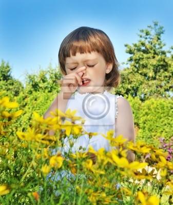 sneezing little girl - pollen fever allergy