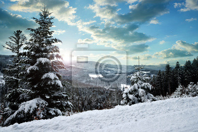 Snowy winter landscape at sunset. National park Sumava in Czech Republic.