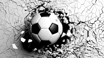 Wall mural Soccer ball breaking forcibly through a white wall. 3d illustration.