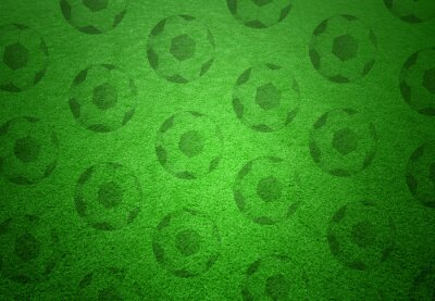 Wall mural Soccer balls pattern on green grass background. Conceptual football copy space background.
