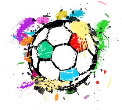 Wall mural Soccer or Football vector illustration, multicolored paint splas