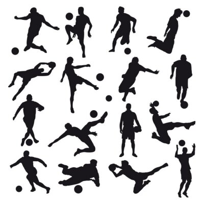 Wall mural Soccer Silhouettes
