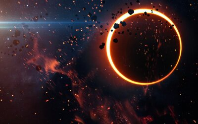 Wall mural Solar Eclipse Above a Nebula. Elements of this image furnished by NASA