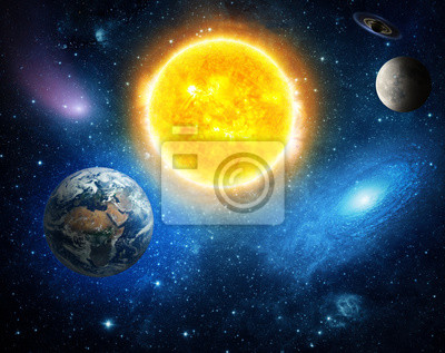 Solar system and space objects. Elements of this image furnished by NASA.