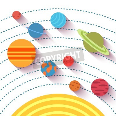 Wall mural Solar system and space objects. Vector set in flat style.
