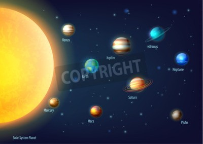 Wall mural Solar system background with sun planets and outer space cartoon vector illustration