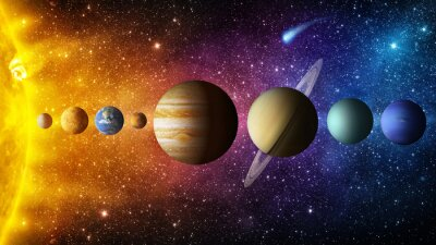 Wall mural Solar system planet, comet, sun and star. Elements of this image furnished by NASA. Sun, mercury, Venus, planet earth, Mars, Jupiter, Saturn, Uranus, Neptune.  Science and education background.