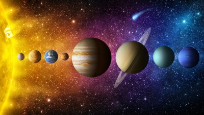 Solar system planet, comet, sun and star. Elements of this image furnished by NASA. Sun, mercury, Venus, planet earth, Mars, Jupiter, Saturn, Uranus, Neptune. Science and education background.