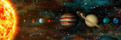 Wall mural Solar System, planets in a row, ultrawide