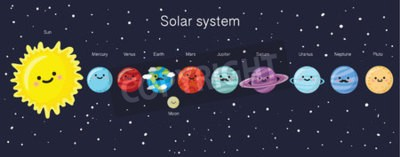Wall mural Solar system with cute smiling planets, sun and moon. Vector illustration