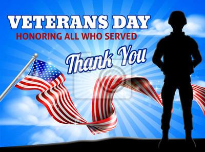 Soldier Patriotic American Flag Veterans Day