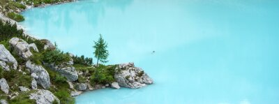 Wall mural Sorapis lake, Dolomites mountain