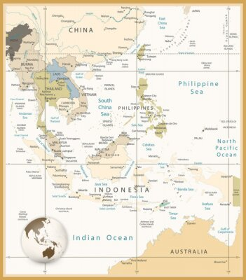 Wall mural Southeast Asia Detailed Map Retro Colors