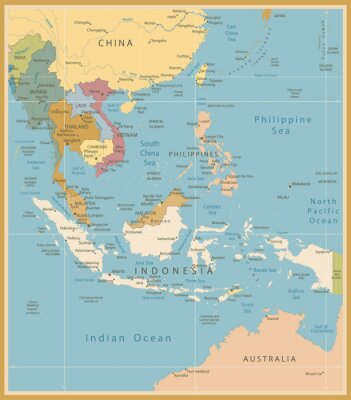 Wall mural Southeast Asia Map Detailed Vintage Colors