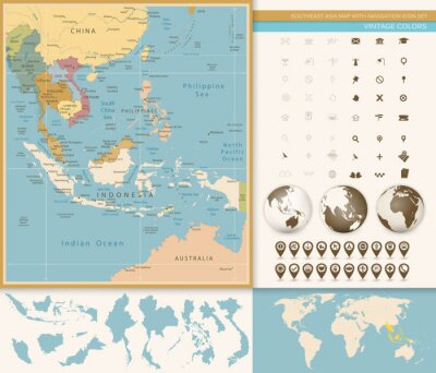 Wall mural Southeast Asia Map Detailed with Navigation Icon Set.