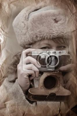 Soviet girl soldier. WWII reenacting