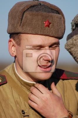 Soviet soldier of WW2. Reenacting. Kiev,Ukraine