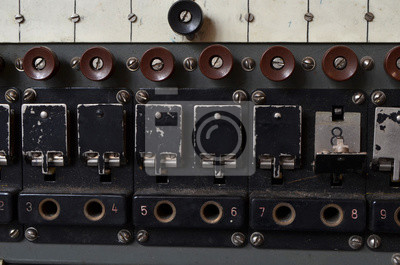 Soviet vintage military field telephone switchboard for 10 subscribers.Cold War time