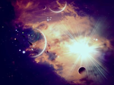 Wall mural Space Clouds and Planets