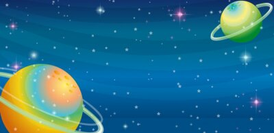 Wall mural Space scene with two planets