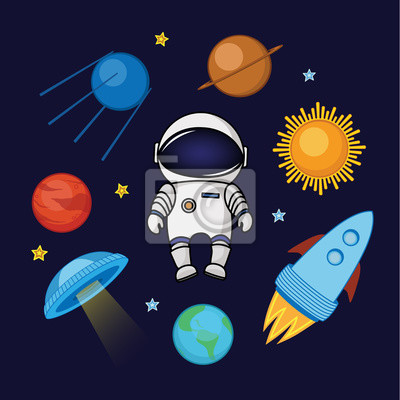 Spaceman In Space Rocket Satellite Ufo Planets And Stars Wall