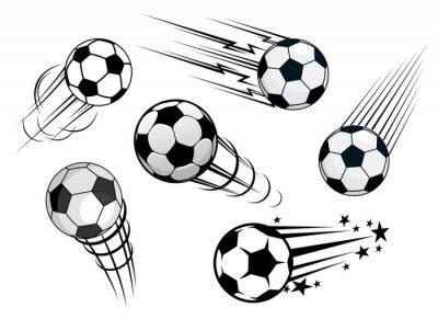 Wall mural Speeding footballs or soccer balls