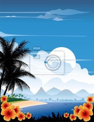 Spiaggia Tropicale-Tropical Beach Landscape-Vector